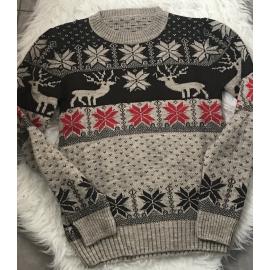 Pulover dama tricotat pentru Craciun si Sarbatorile cu Reni