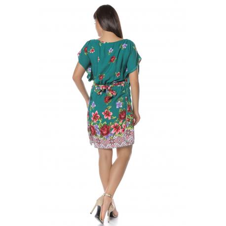 Set Rochii Mama-Fiica cu model floral Ella verde
