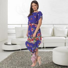 Set Rochii Mama-Fiica cu model floral Ella albastru