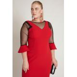 Rochie Plus Size cu maneci clopot rosu Elena
