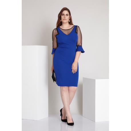 Rochie Plus Size cu maneci clopot albastru Elena