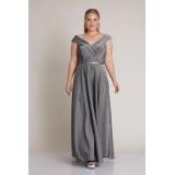 Rochie lunga Plus Size argintiu Kamelia