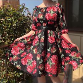Rochie clos cu imprimeu floral si elastic pe umeri Flower