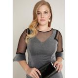 Rochie Plus Size cu maneci clopot argintiu Elena