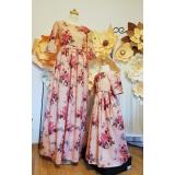 Set Rochii Mama-Fiica cu model floral Iris roz