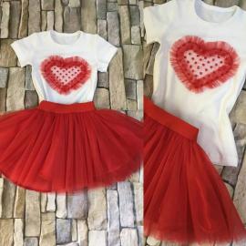 Set Tricouri Mama-Fiica model inima cu buline