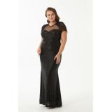 Rochie Plus Size cu paiete si franjuri tip sirena Doris negru