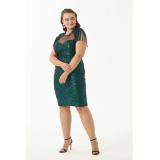 Rochie Plus Size cu paiete si epoleti Dariana verde