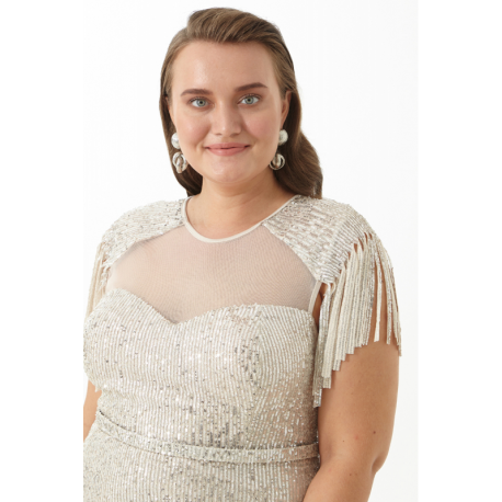 Rochie Plus Size cu paiete si epoleti Dariana argintiu