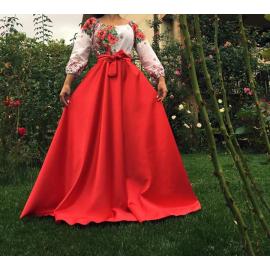Rochie lunga cu motive traditionale Loret rosu