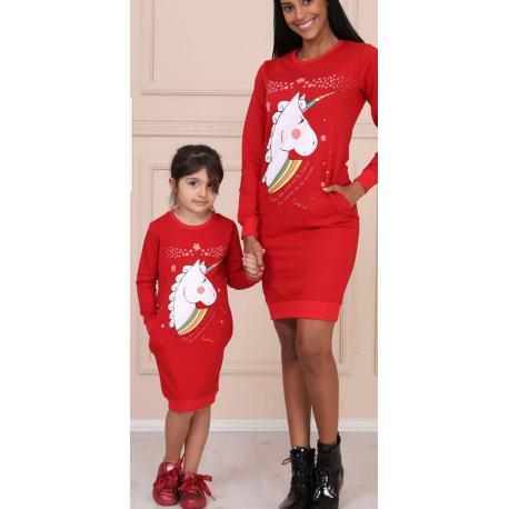 Set Rochii Mama-Fiica model Unicorn