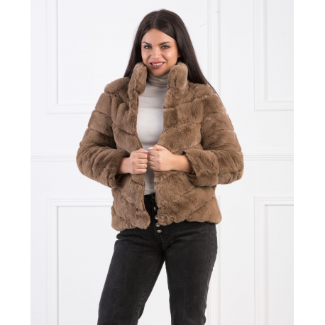 Jacheta de blana bej cu guler inalt Mirage
