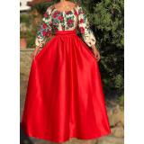 Rochie lunga cu model floral Gypsy Aria rosu