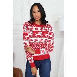 Pulover tricotat cu model Fulgi de zapada si reni