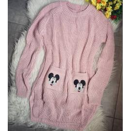 Pulover tricotat cu buzunare Mickey