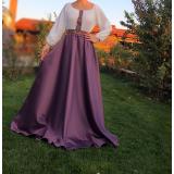 Rochie lunga din tafta cu broderie multicolora Liliana Lila