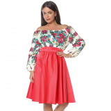 Rochie scurta cu model floral Gypsy Aria rosu