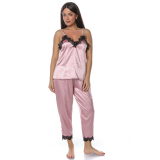 Set pijamale 4 piese din satin roz