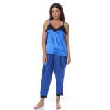 Set pijamale 4 piese din satin albastru