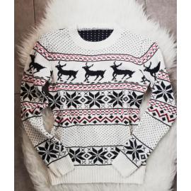 Pulover tricotat cu motive de iarna Reindeer