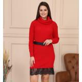 Rochie midi tricotata cu dantela Carinna