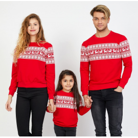 Set Bluze Winter Family Rosu