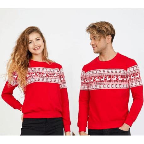 Set bluze pentru El si Ea Winter rosu Idei Cadouri de Craciun Online