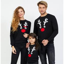 Set Bluze Reindeer Family negru