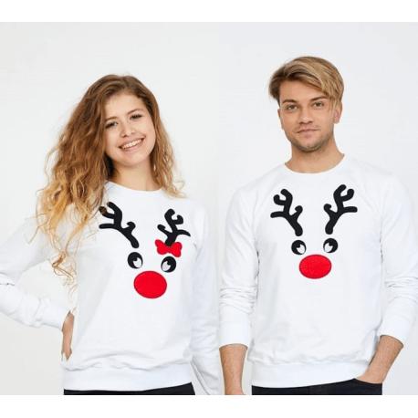 Set bluze pentru El si Ea Reindeer alb Idei Cadouri de Craciun Online