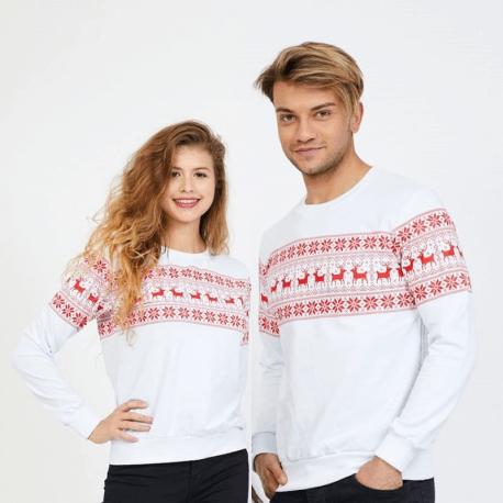Set bluze pentru El si Ea Winter alb Idei Cadouri de Craciun Online