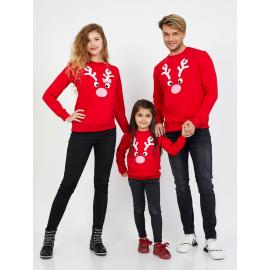 Set Bluze Reindeer Family rosu