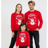 Set Bluze Merry Christmas Family rosu
