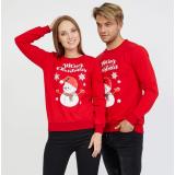 Set bluze pentru El si Ea Merry Christmas rosu
