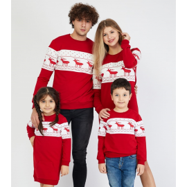 Set Family cu motive de iarna rosu (rochie copil)