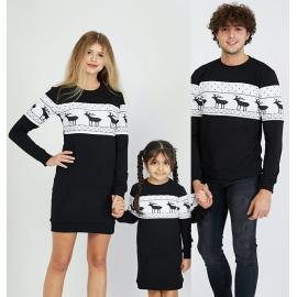 Set Family cu motive de iarna negru (rochie copil)
