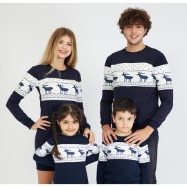 Set Bluze cu motive de iarna Family bleumarin