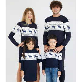 Set Family cu motive de iarna bleumarin (rochie copil)