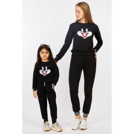 Set Trening Mama-Fiica Bugs Bunny negru