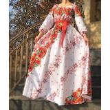 Rochie lunga cu motive traditionale Marina Rosu