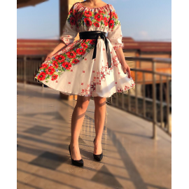 Rochie scurta cu motive traditionale Marina Rosu