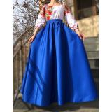 Rochie lunga cu motive traditionale Loret albastru