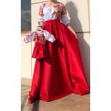Set rochii Mama-Fiica cu motive traditionale Loret lung