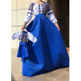 Set rochii Mama-Fiica cu motive geometrice Matilda albastru