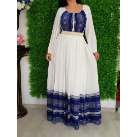 Rochie lunga traditionala Anna albastru