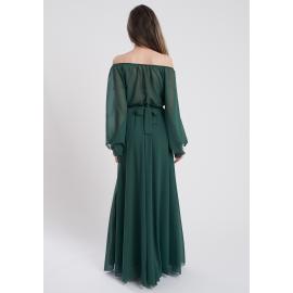 Rochie lunga din voal Medeea Verde