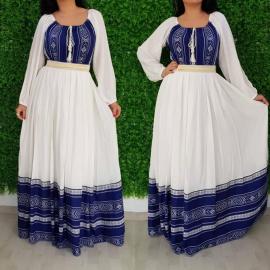Set rochii lungi Mama-Fiica cu model traditional Anna albastru