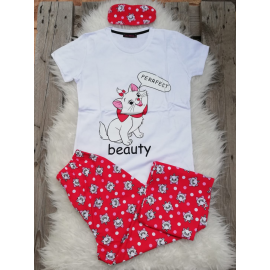Pijama dama Beauty Cat alb