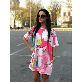 Rochie scurta cu desene Pink Panther