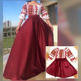 Set rochii Mama-Fiica cu motive geometrice Matilda bordo