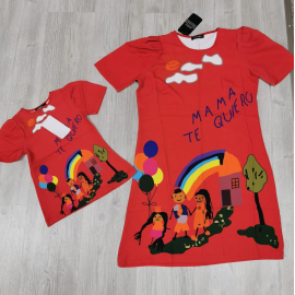 Set Rochii Mama-Fiica Mama Te Quero rosu